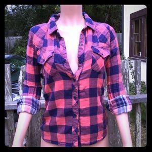 Rails Kendra Coral/Navy Plaid Shirt